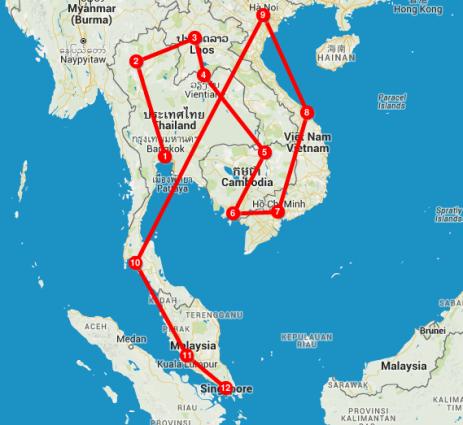 mapa itinerario zoom